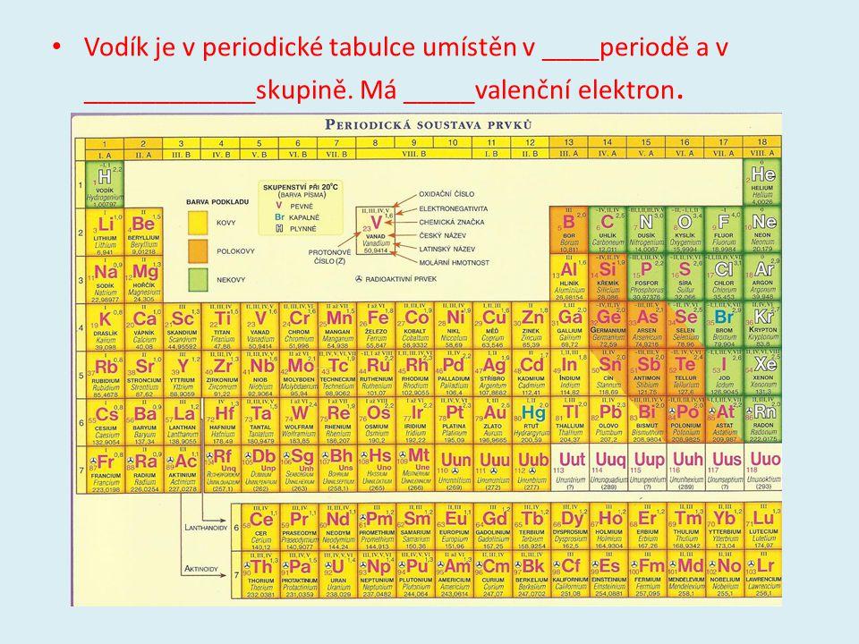 Vodík je v periodické tabulce umístěn v ____periodě a v ____________skupině.