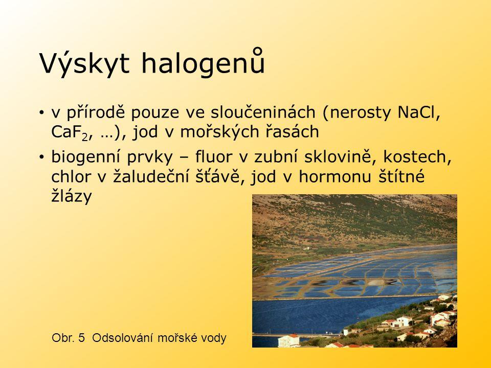 Výskyt halogenů v přírodě pouze ve sloučeninách (nerosty NaCl, CaF 2, …), jod v mořských řasách biogenní prvky – fluor v zubní sklovině, kostech, chlo