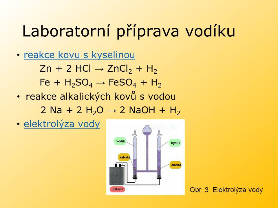 Laboratorní příprava vodíku reakce kovu s kyselinou reakce kovu s kyselinou Zn + 2 HCl → ZnCl 2 + H 2 Fe + H 2 SO 4 → FeSO 4 + H 2 reakce alkalických