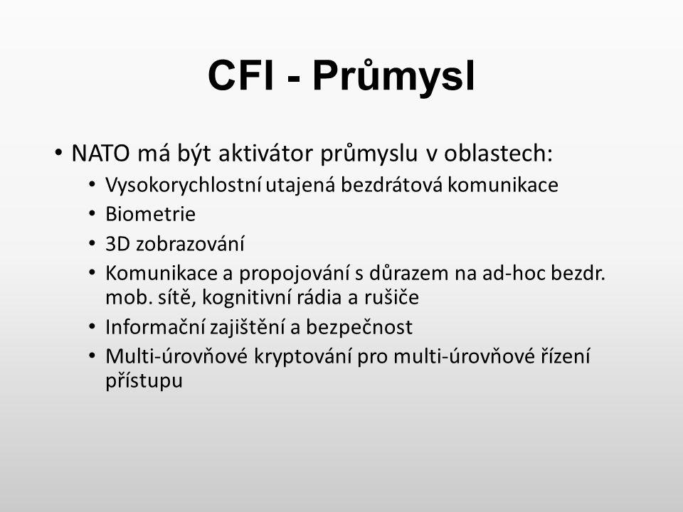CFI - Průmysl NATO má být aktivátor průmyslu v oblastech: Vysokorychlostní utajená bezdrátová komunikace Biometrie 3D zobrazování Komunikace a propojo