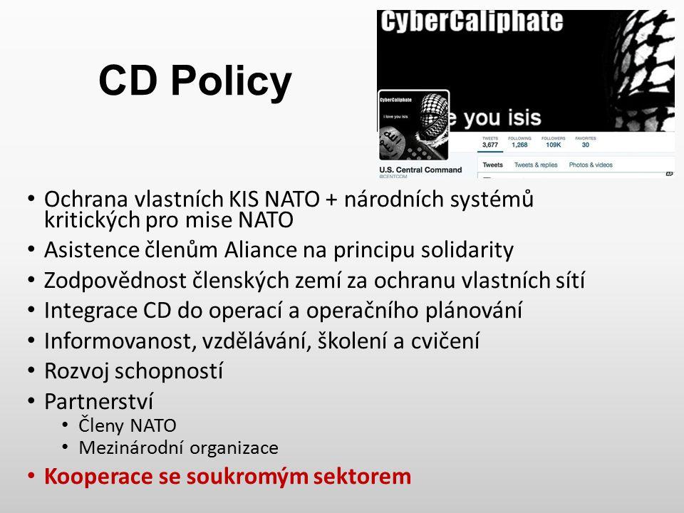 CD Policy Ochrana vlastních KIS NATO + národních systémů kritických pro mise NATO Asistence členům Aliance na principu solidarity Zodpovědnost členský