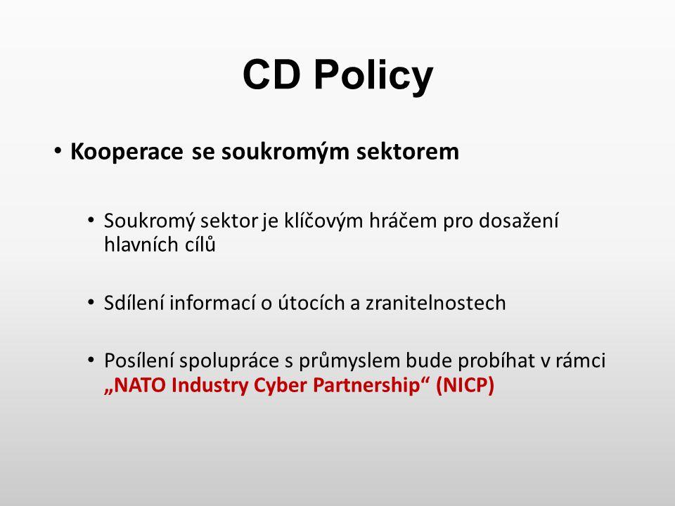 CD Policy Kooperace se soukromým sektorem Soukromý sektor je klíčovým hráčem pro dosažení hlavních cílů Sdílení informací o útocích a zranitelnostech