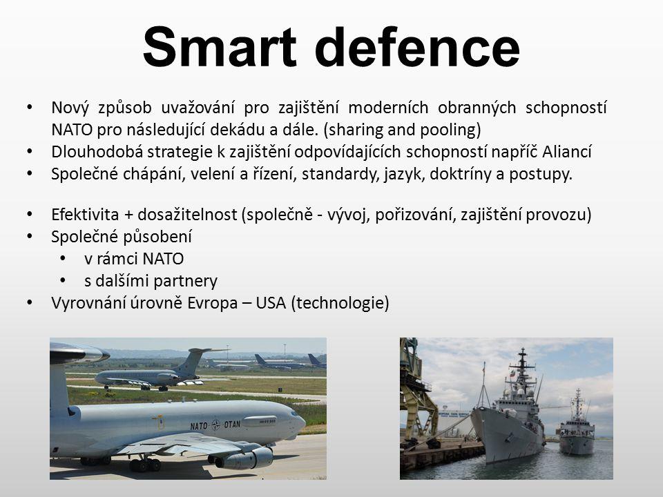 Smart defence SD zaměřena na rozvoj kritických schopností NATO (Lisabon 2010) BMD JISR Výcvik a příprava sil Efektivita nasazení a ochrana sil 3 základní principy Prioritizace Specializace Kooperace Koordinace s partnery Mezinárodní spolupráce s průmyslem