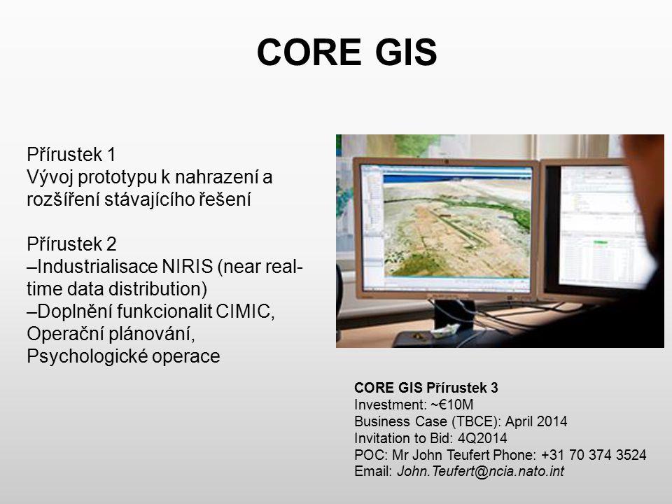 CORE GIS Přírustek 1 Vývoj prototypu k nahrazení a rozšíření stávajícího řešení Přírustek 2 –Industrialisace NIRIS (near real- time data distribution)