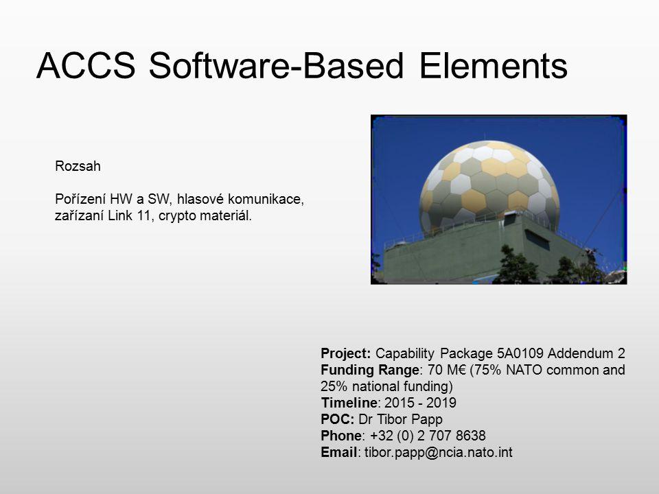 ACCS Software-Based Elements Rozsah Pořízení HW a SW, hlasové komunikace, zařízaní Link 11, crypto materiál. Project: Capability Package 5A0109 Addend