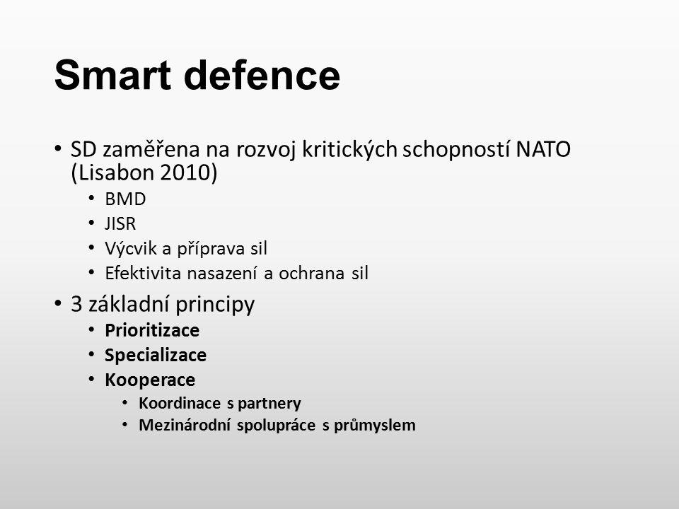 Smart defence SD zaměřena na rozvoj kritických schopností NATO (Lisabon 2010) BMD JISR Výcvik a příprava sil Efektivita nasazení a ochrana sil 3 zákla