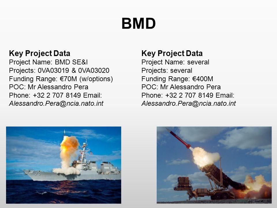 BMD Key Project Data Project Name: BMD SE&I Projects: 0VA03019 & 0VA03020 Funding Range: €70M (w/options) POC: Mr Alessandro Pera Phone: +32 2 707 814