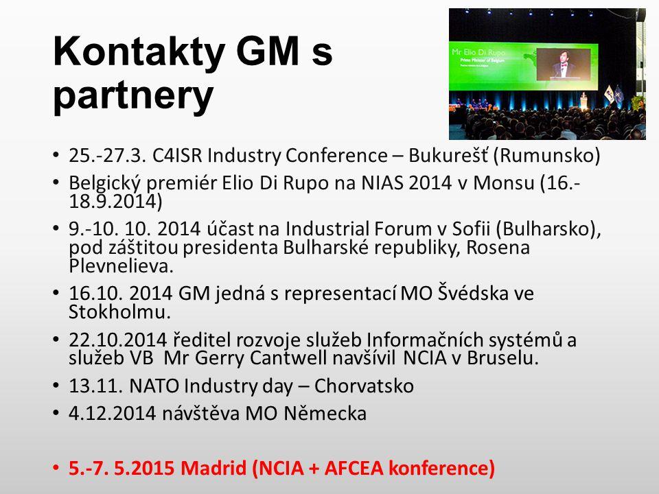 Kontakty GM s partnery 25.-27.3. C4ISR Industry Conference – Bukurešť (Rumunsko) Belgický premiér Elio Di Rupo na NIAS 2014 v Monsu (16.- 18.9.2014) 9