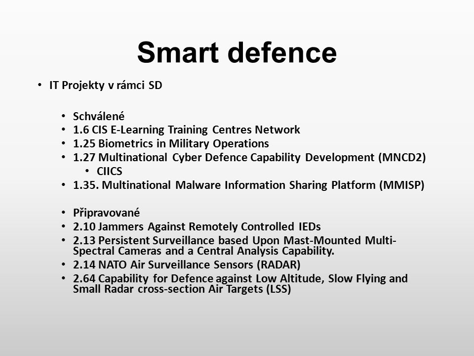Smart defence IT Projekty v rámci SD Schválené 1.6 CIS E-Learning Training Centres Network 1.25 Biometrics in Military Operations 1.27 Multinational C