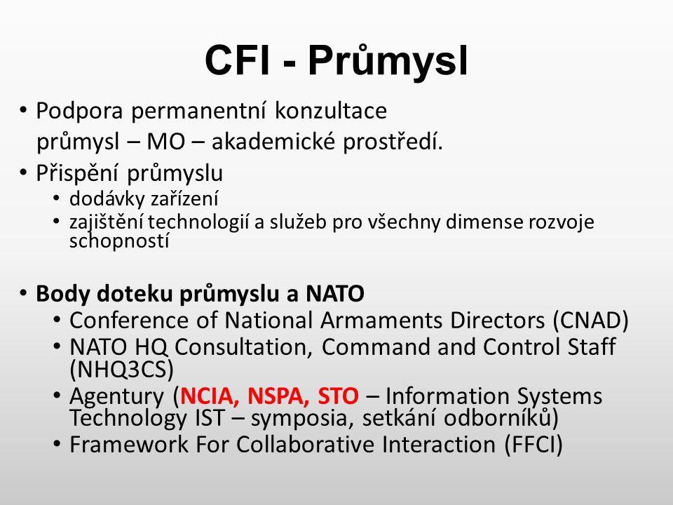 CFI - Průmysl Podpora permanentní konzultace průmysl – MO – akademické prostředí. Přispění průmyslu dodávky zařízení zajištění technologií a služeb pr