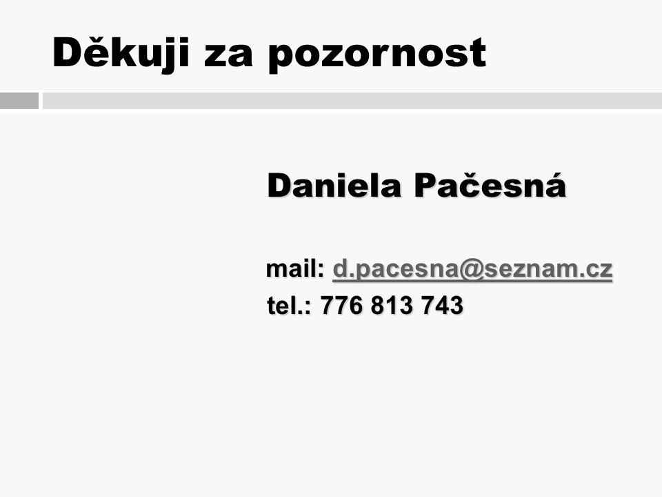 Děkuji za pozornost Daniela Pačesná Daniela Pačesná mail: d.pacesna@seznam.cz d.pacesna@seznam.cz tel.: 776 813 743 tel.: 776 813 743