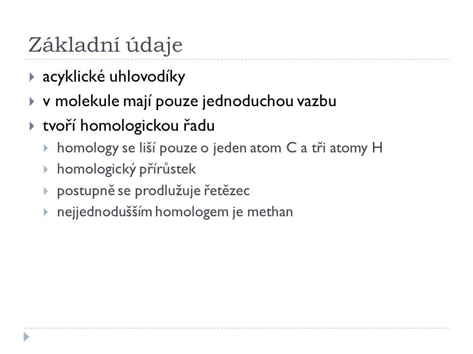 Základní údaje  acyklické uhlovodíky  v molekule mají pouze jednoduchou vazbu  tvoří homologickou řadu  homology se liší pouze o jeden atom C a tři atomy H  homologický přírůstek  postupně se prodlužuje řetězec  nejjednodušším homologem je methan