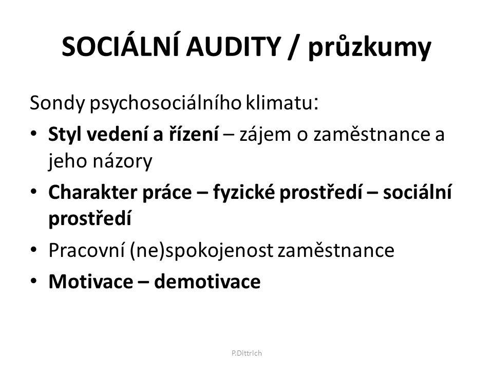 SOCIÁLNÍ AUDITY / průzkumy Sondy psychosociálního klimatu : Styl vedení a řízení – zájem o zaměstnance a jeho názory Charakter práce – fyzické prostře