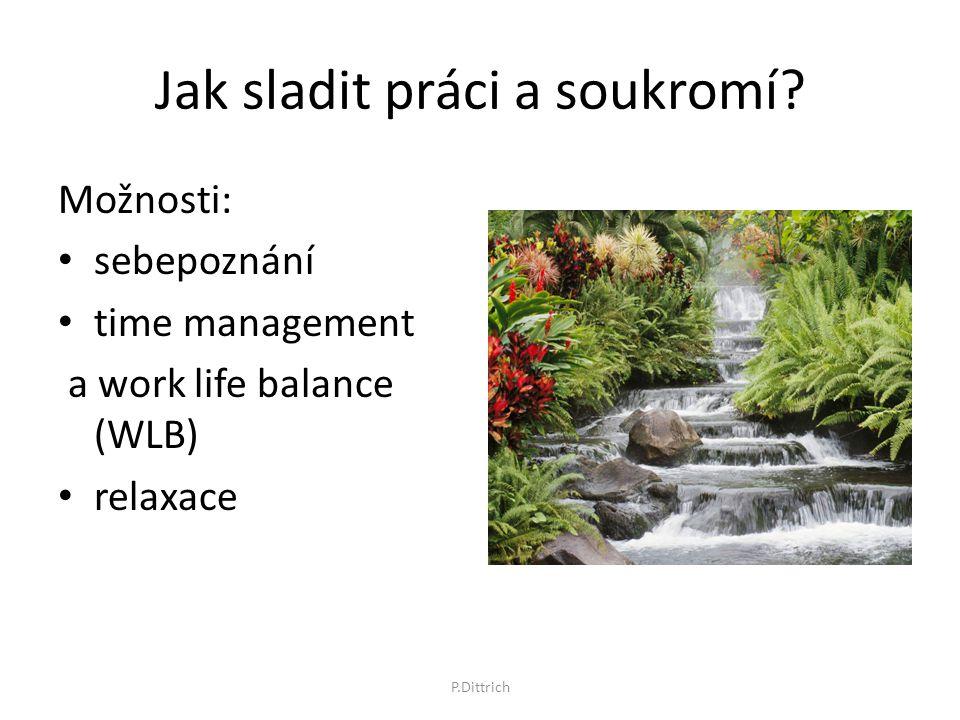 Jak sladit práci a soukromí? Možnosti: sebepoznání time management a work life balance (WLB) relaxace P.Dittrich