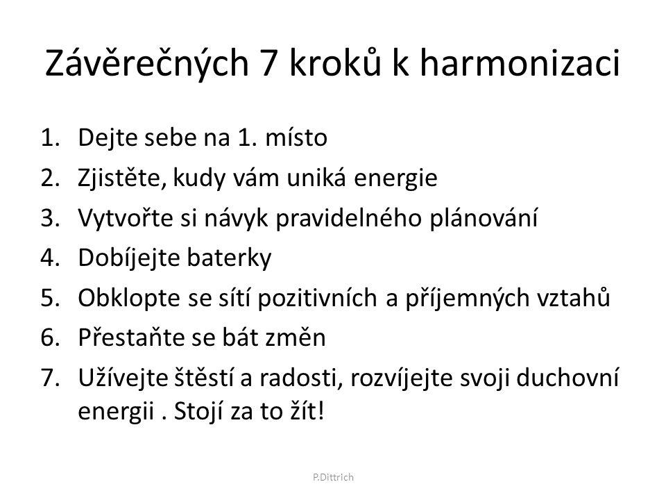 Závěrečných 7 kroků k harmonizaci 1.Dejte sebe na 1. místo 2.Zjistěte, kudy vám uniká energie 3.Vytvořte si návyk pravidelného plánování 4.Dobíjejte b