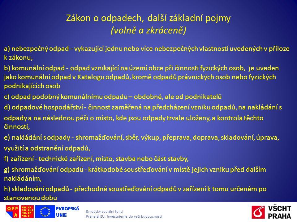 Evropský sociální fond Praha & EU: Investujeme do vaší budoucnosti Zákon o odpadech, další základní pojmy (volně a zkráceně) a) nebezpečný odpad - vyk