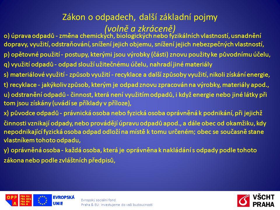 Evropský sociální fond Praha & EU: Investujeme do vaší budoucnosti Zákon o odpadech, další základní pojmy (volně a zkráceně) o) úprava odpadů - změna