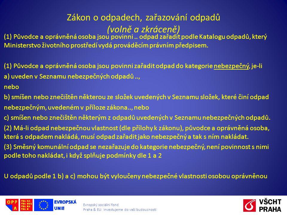 Evropský sociální fond Praha & EU: Investujeme do vaší budoucnosti Zákon o odpadech, zařazování odpadů (volně a zkráceně) (1) Původce a oprávněná osob