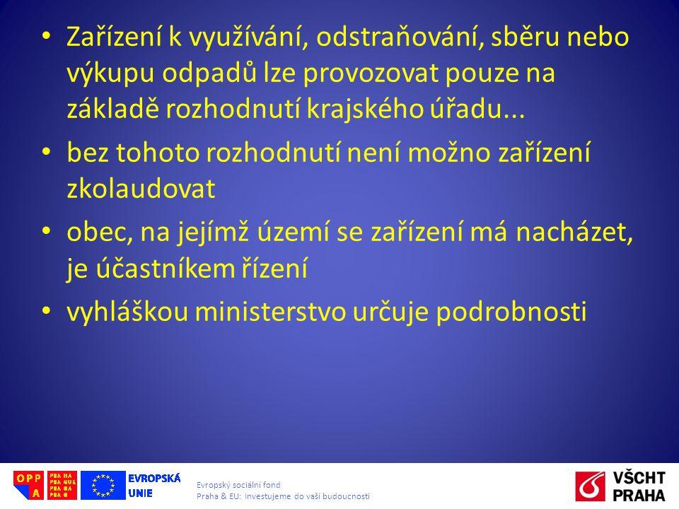 Evropský sociální fond Praha & EU: Investujeme do vaší budoucnosti Zařízení k využívání, odstraňování, sběru nebo výkupu odpadů lze provozovat pouze n