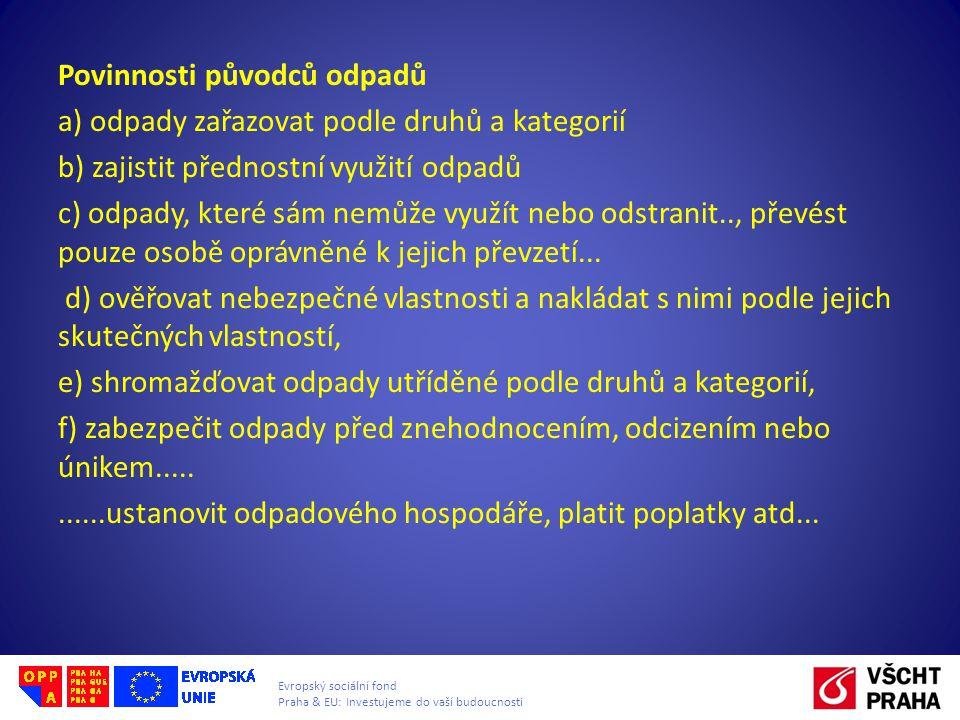 Evropský sociální fond Praha & EU: Investujeme do vaší budoucnosti Povinnosti původců odpadů a) odpady zařazovat podle druhů a kategorií b) zajistit p