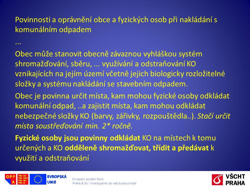 Evropský sociální fond Praha & EU: Investujeme do vaší budoucnosti Povinnosti a oprávnění obce a fyzických osob při nakládání s komunálním odpadem...