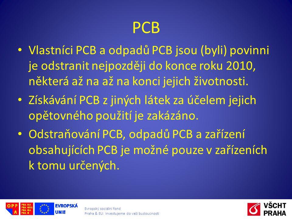 Evropský sociální fond Praha & EU: Investujeme do vaší budoucnosti Vlastníci PCB a odpadů PCB jsou (byli) povinni je odstranit nejpozději do konce rok