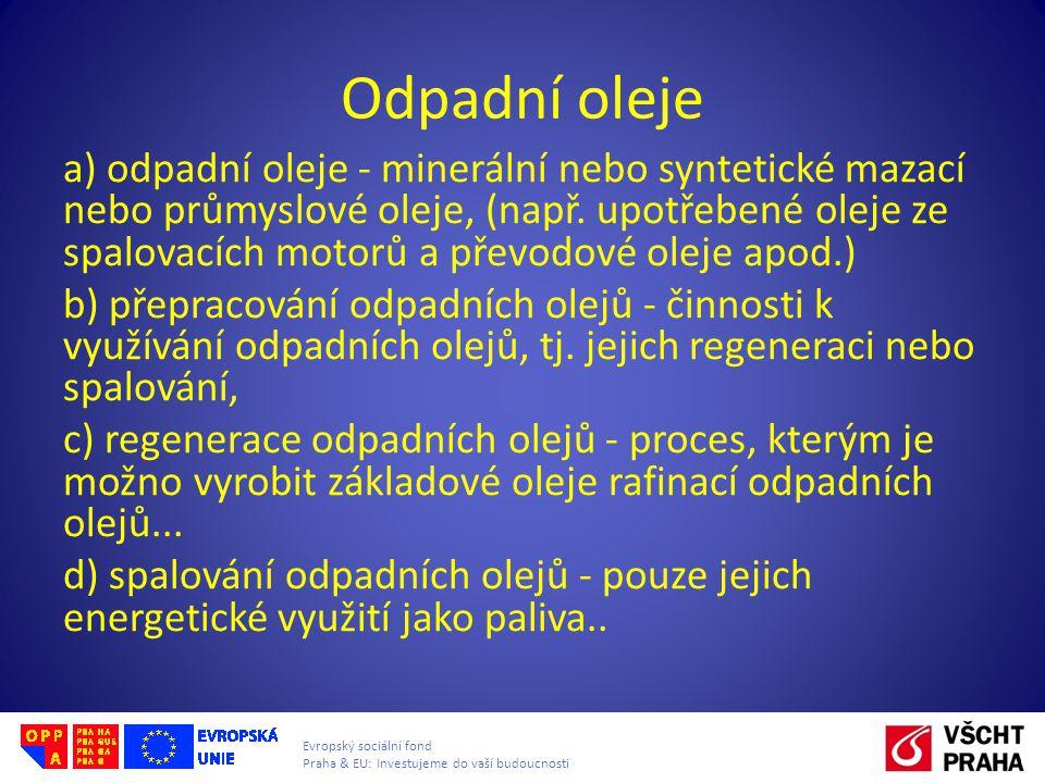 Evropský sociální fond Praha & EU: Investujeme do vaší budoucnosti a) odpadní oleje - minerální nebo syntetické mazací nebo průmyslové oleje, (např. u