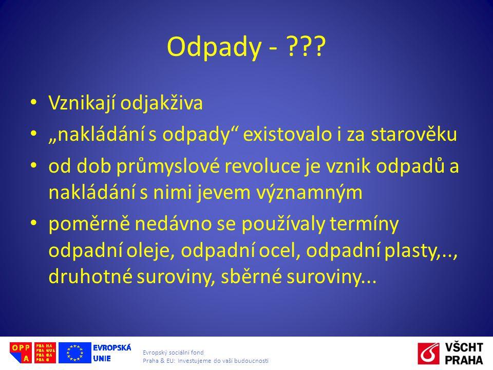 """Evropský sociální fond Praha & EU: Investujeme do vaší budoucnosti Odpady - ??? Vznikají odjakživa """"nakládání s odpady"""" existovalo i za starověku od d"""