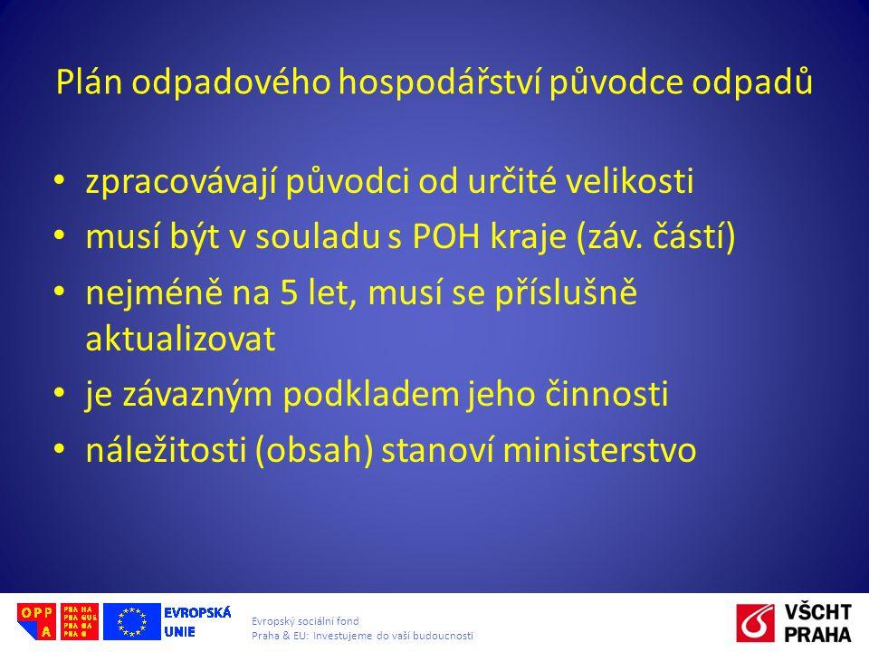 Evropský sociální fond Praha & EU: Investujeme do vaší budoucnosti Plán odpadového hospodářství původce odpadů zpracovávají původci od určité velikost