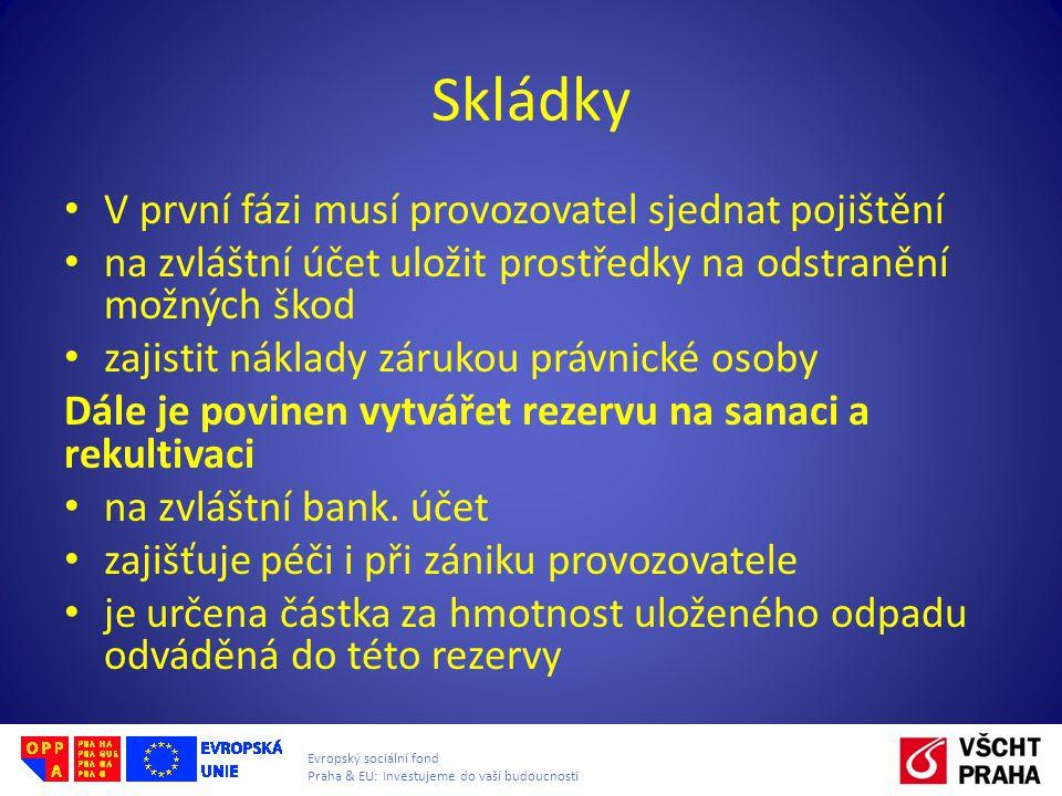 Evropský sociální fond Praha & EU: Investujeme do vaší budoucnosti Skládky V první fázi musí provozovatel sjednat pojištění na zvláštní účet uložit pr