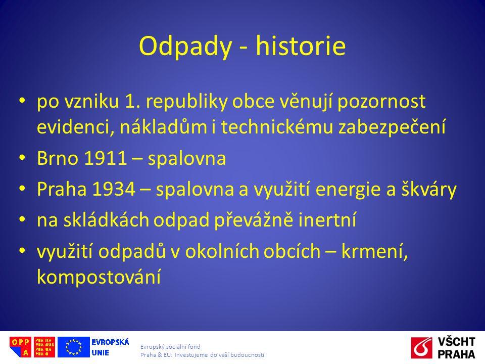Evropský sociální fond Praha & EU: Investujeme do vaší budoucnosti Odpady - historie po vzniku 1. republiky obce věnují pozornost evidenci, nákladům i