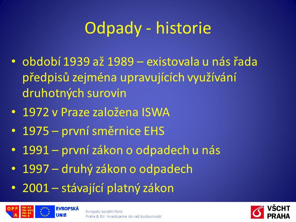 Evropský sociální fond Praha & EU: Investujeme do vaší budoucnosti Odpady - historie období 1939 až 1989 – existovala u nás řada předpisů zejména upra