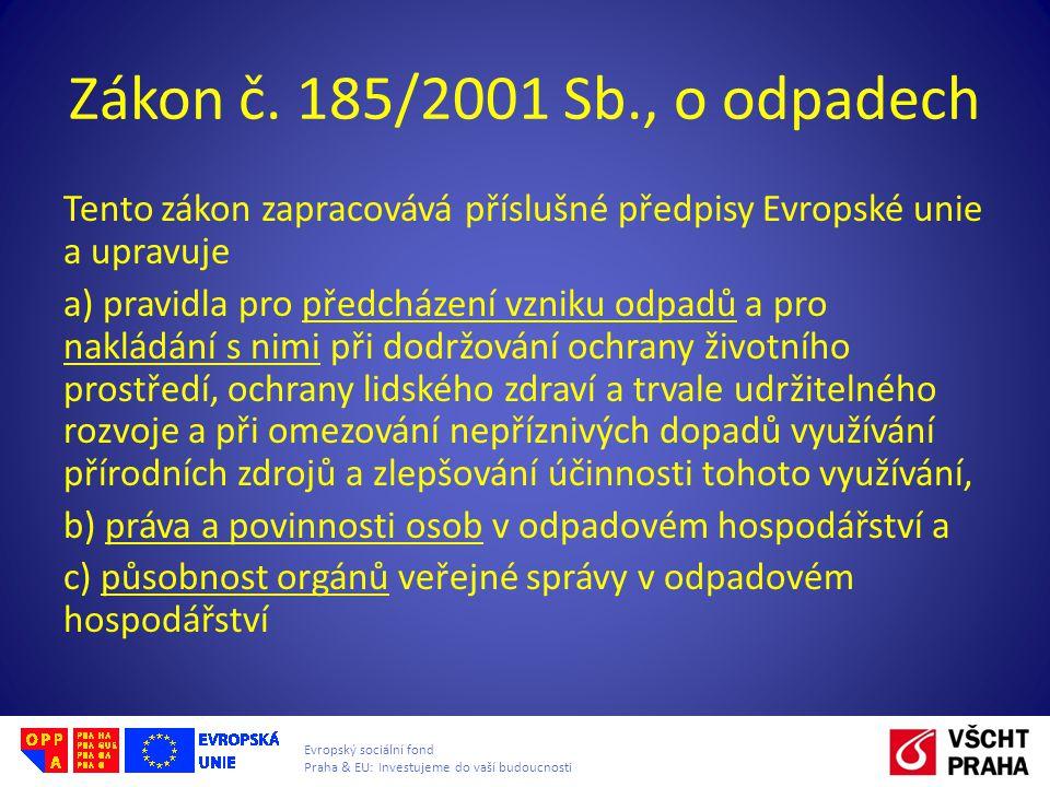 Evropský sociální fond Praha & EU: Investujeme do vaší budoucnosti Zákon č. 185/2001 Sb., o odpadech Tento zákon zapracovává příslušné předpisy Evrops