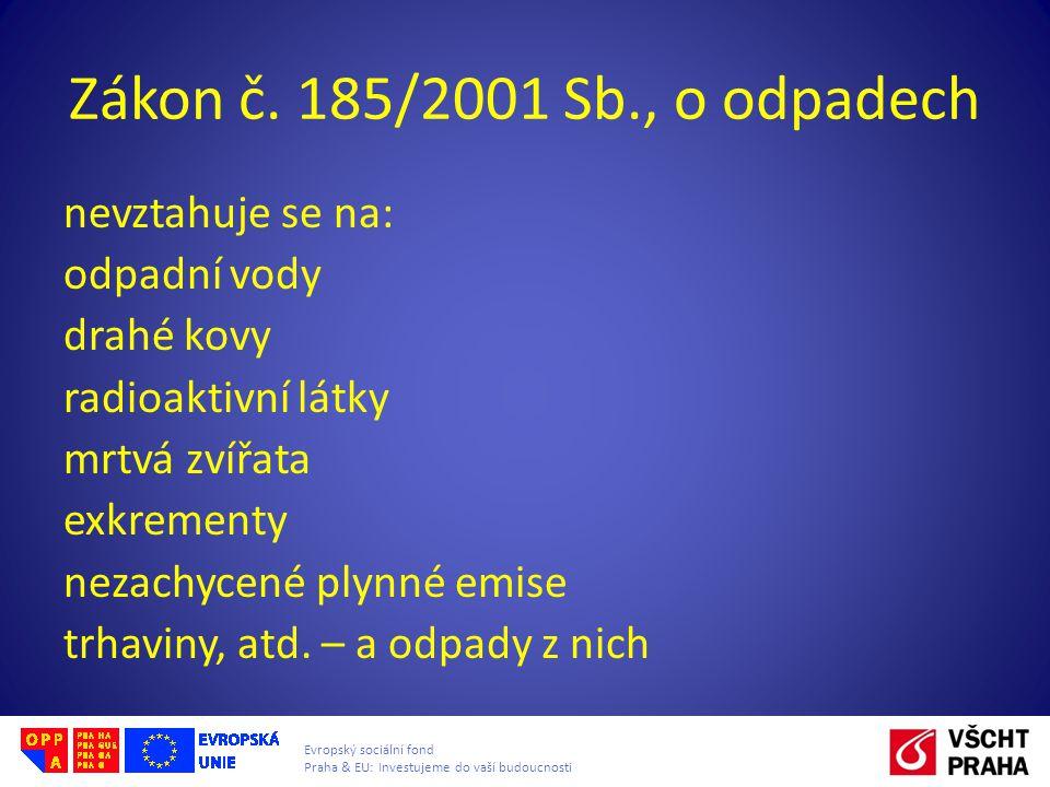 Evropský sociální fond Praha & EU: Investujeme do vaší budoucnosti Zákon č. 185/2001 Sb., o odpadech nevztahuje se na: odpadní vody drahé kovy radioak