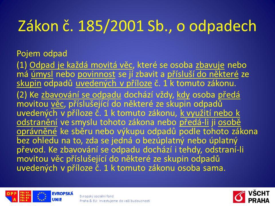 Evropský sociální fond Praha & EU: Investujeme do vaší budoucnosti Zákon č. 185/2001 Sb., o odpadech Pojem odpad (1) Odpad je každá movitá věc, které
