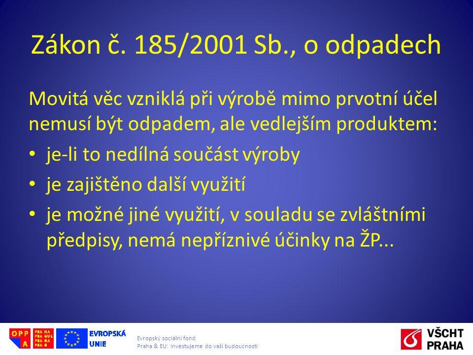 Evropský sociální fond Praha & EU: Investujeme do vaší budoucnosti Zákon č. 185/2001 Sb., o odpadech Movitá věc vzniklá při výrobě mimo prvotní účel n