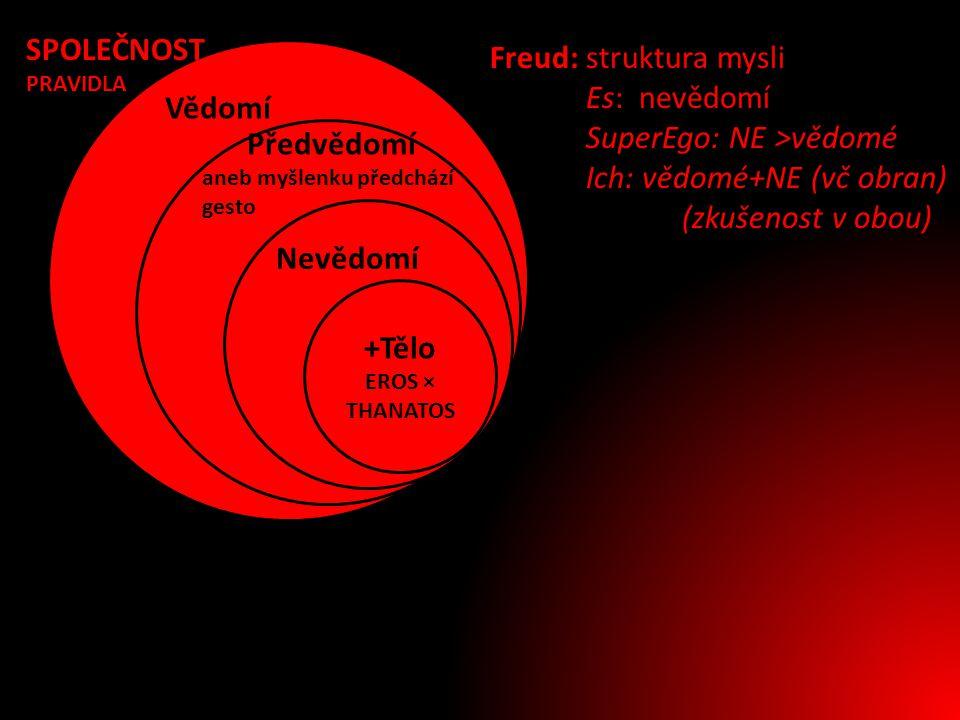 Vědomí Předvědomí aneb myšlenku předchází gesto Nevědomí +Tělo EROS × THANATOS Freud: struktura mysli Es: nevědomí SuperEgo: NE >vědomé Ich: vědomé+NE