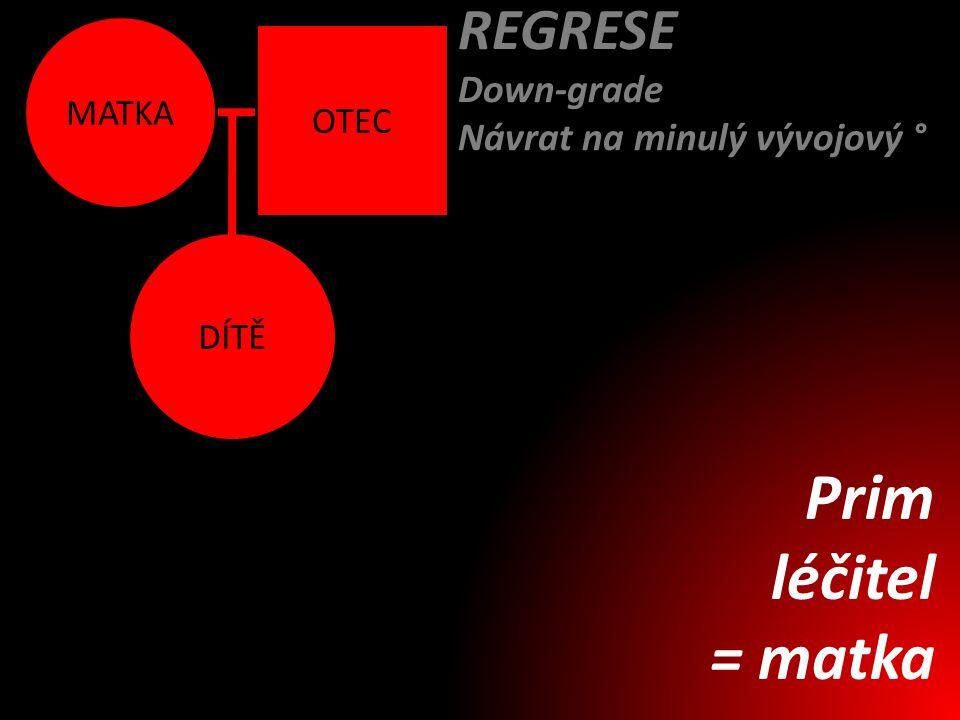 DÍTĚ MATKA OTEC REGRESE Down-grade Návrat na minulý vývojový ° Prim léčitel = matka