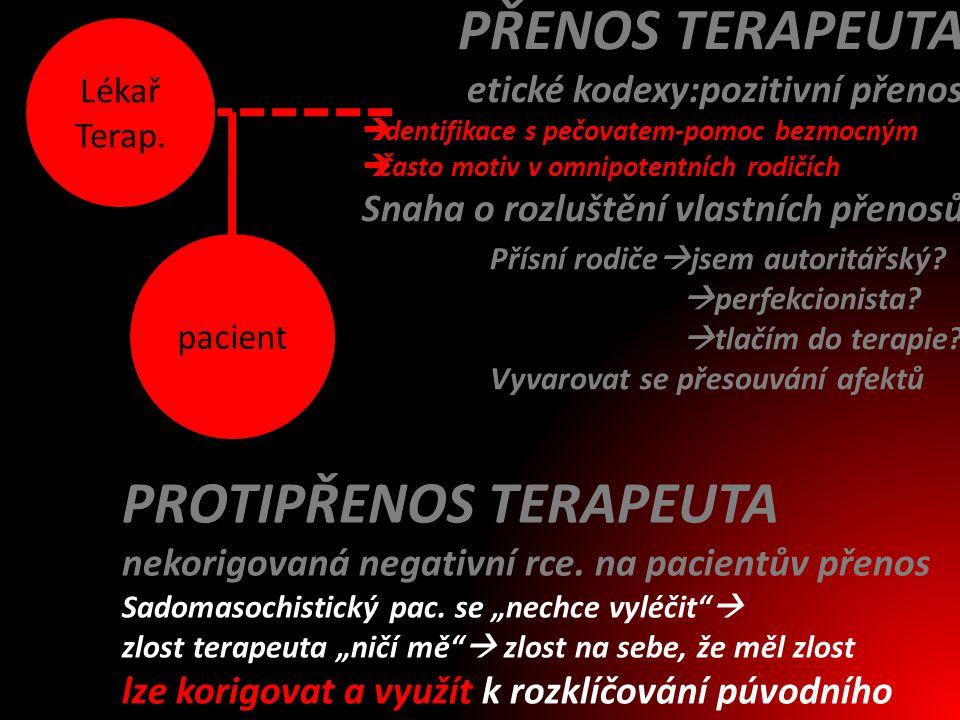 pacient Lékař Terap. PŘENOS TERAPEUTA etické kodexy:pozitivní přenos  Identifikace s pečovatem-pomoc bezmocným  Často motiv v omnipotentních rodičíc