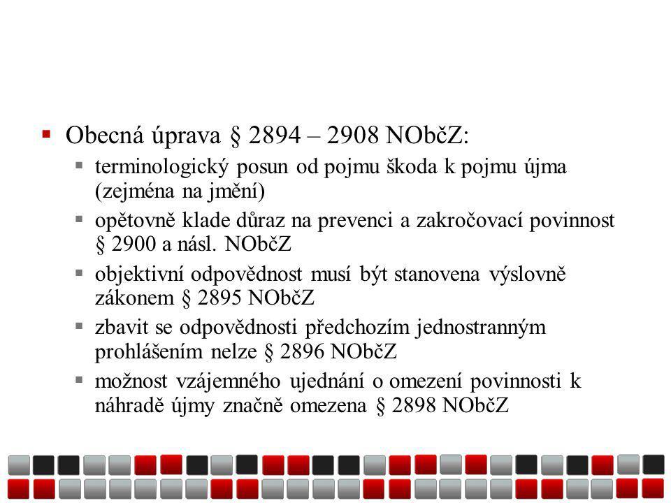  Obecná úprava § 2894 – 2908 NObčZ:  terminologický posun od pojmu škoda k pojmu újma (zejména na jmění)  opětovně klade důraz na prevenci a zakročovací povinnost § 2900 a násl.