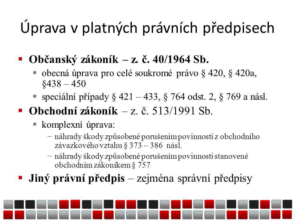 Úprava v platných právních předpisech  Občanský zákoník – z.