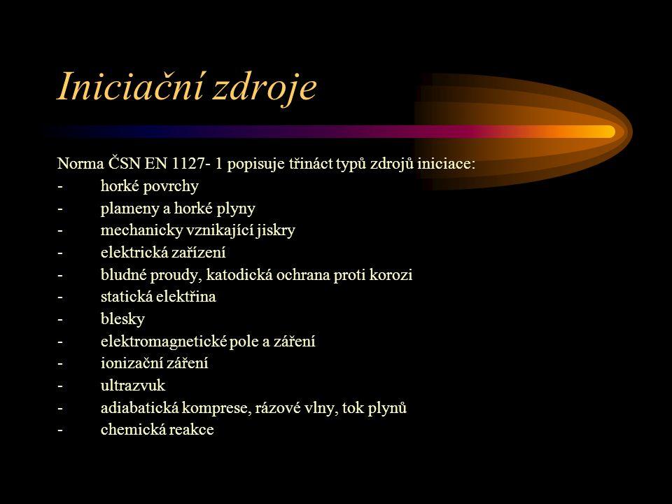 Iniciační zdroje Norma ČSN EN 1127- 1 popisuje třináct typů zdrojů iniciace: - horké povrchy - plameny a horké plyny - mechanicky vznikající jiskry -