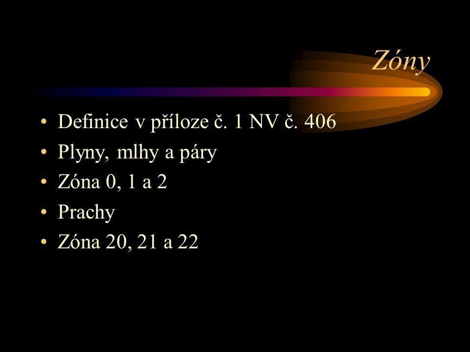Zóny Definice v příloze č. 1 NV č. 406 Plyny, mlhy a páry Zóna 0, 1 a 2 Prachy Zóna 20, 21 a 22