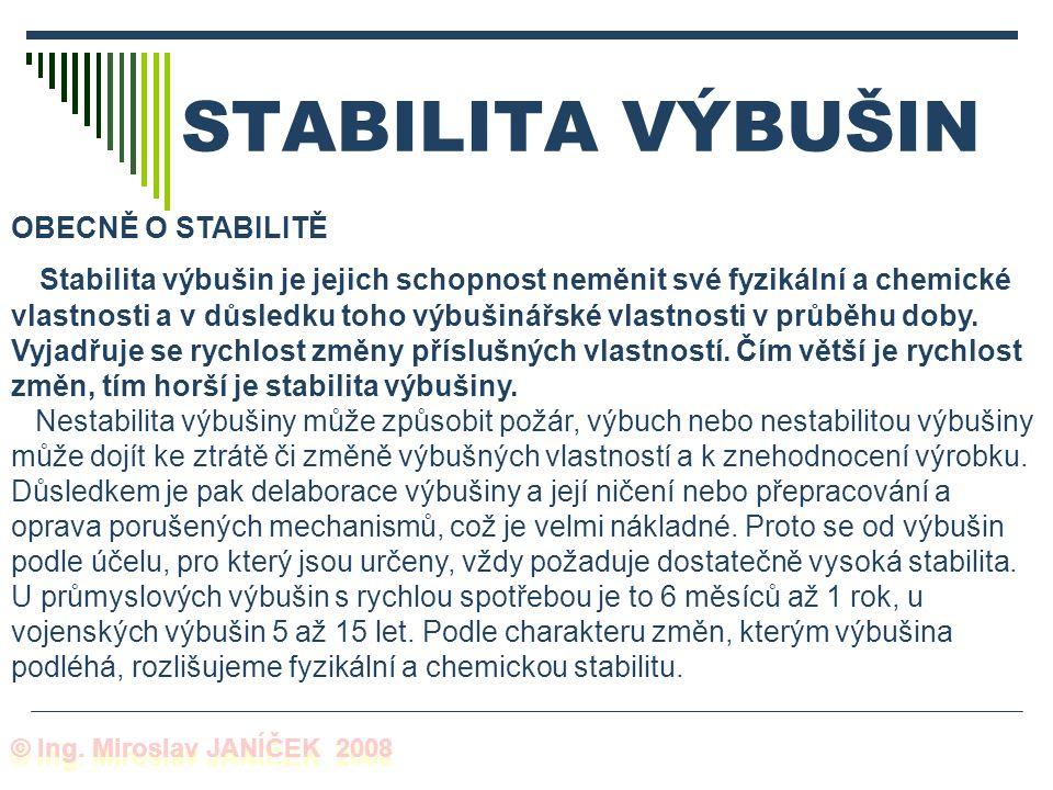 STABILITA VÝBUŠIN OBECNĚ O STABILITĚ Stabilita výbušin je jejich schopnost neměnit své fyzikální a chemické vlastnosti a v důsledku toho výbušinářské