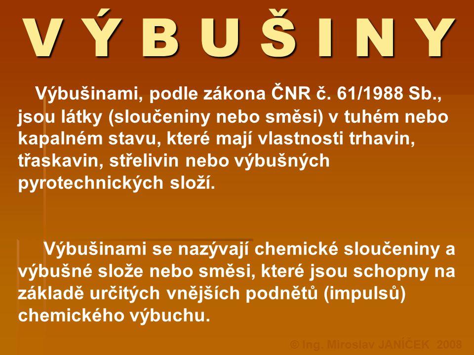 V Ý B U Š I N Y V Ý B U Š I N Y Výbušinami, podle zákona ČNR č. 61/1988 Sb., jsou látky (sloučeniny nebo směsi) v tuhém nebo kapalném stavu, které maj