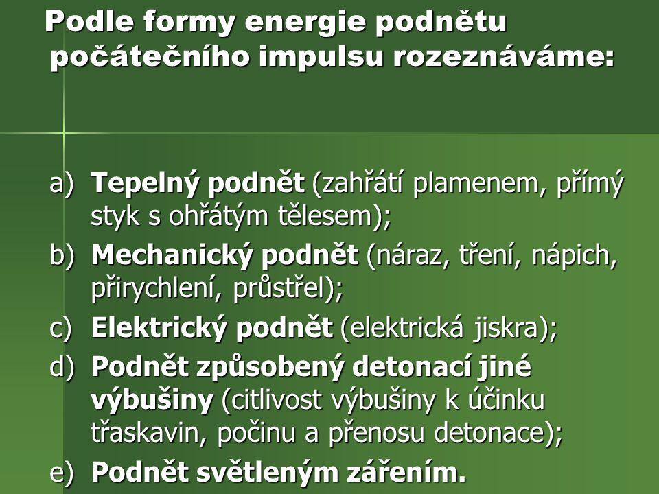 Podle formy energie podnětu počátečního impulsu rozeznáváme: Podle formy energie podnětu počátečního impulsu rozeznáváme: a) Tepelný podnět (zahřátí p