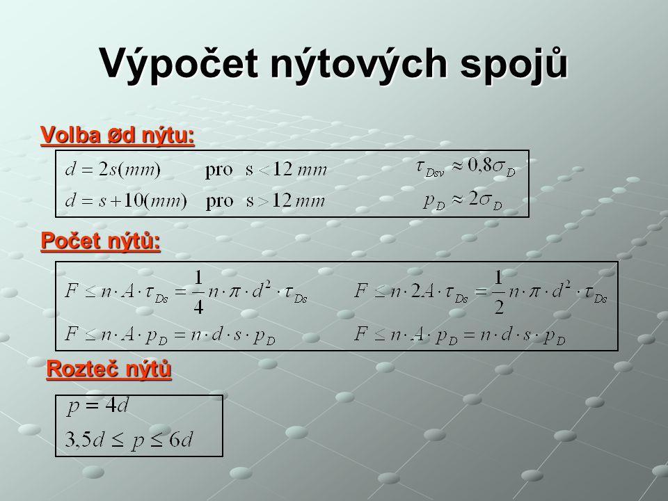 Výpočet nýtových spojů Volba Ø d nýtu: Počet nýtů: Rozteč nýtů