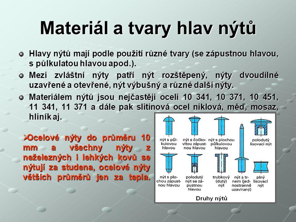 Materiál a tvary hlav nýtů Hlavy nýtů mají podle použití různé tvary (se zápustnou hlavou, s půlkulatou hlavou apod.).
