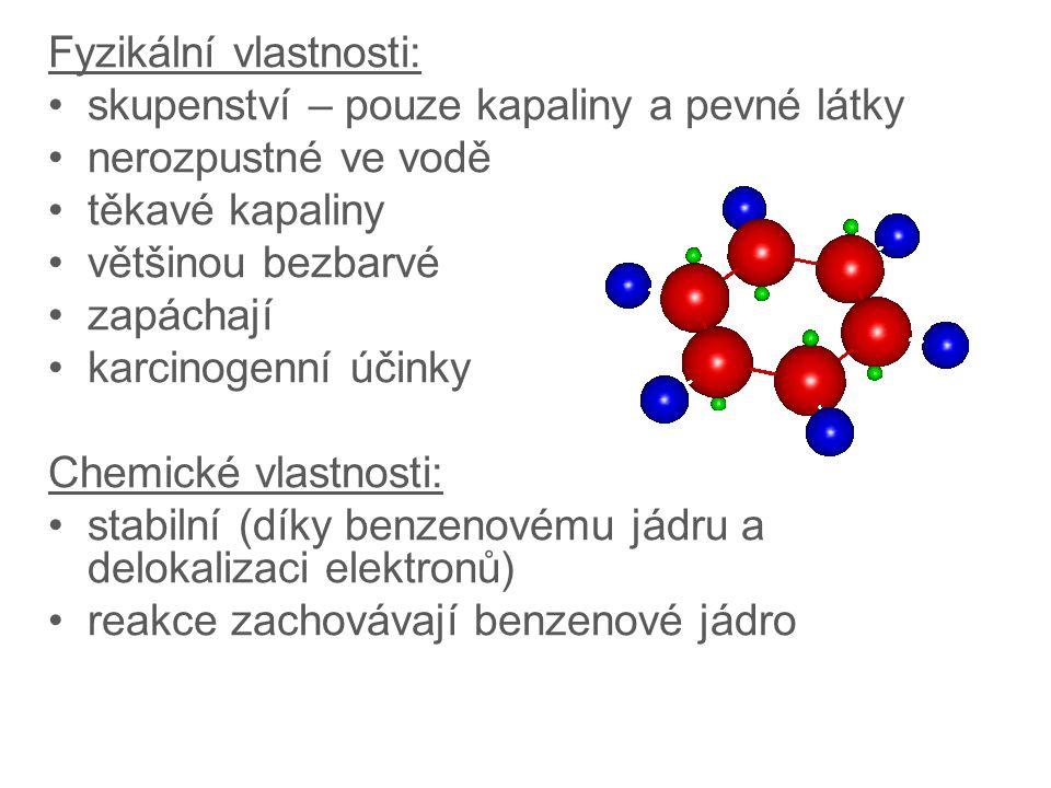 Fyzikální vlastnosti: skupenství – pouze kapaliny a pevné látky nerozpustné ve vodě těkavé kapaliny většinou bezbarvé zapáchají karcinogenní účinky Chemické vlastnosti: stabilní (díky benzenovému jádru a delokalizaci elektronů) reakce zachovávají benzenové jádro