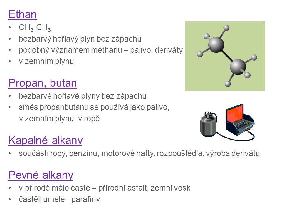 Ethan CH 3 -CH 3 bezbarvý hořlavý plyn bez zápachu podobný významem methanu – palivo, deriváty v zemním plynu Propan, butan bezbarvé hořlavé plyny bez zápachu směs propanbutanu se používá jako palivo, v zemním plynu, v ropě Kapalné alkany součástí ropy, benzínu, motorové nafty, rozpouštědla, výroba derivátů Pevné alkany v přírodě málo časté – přírodní asfalt, zemní vosk častěji umělé - parafíny